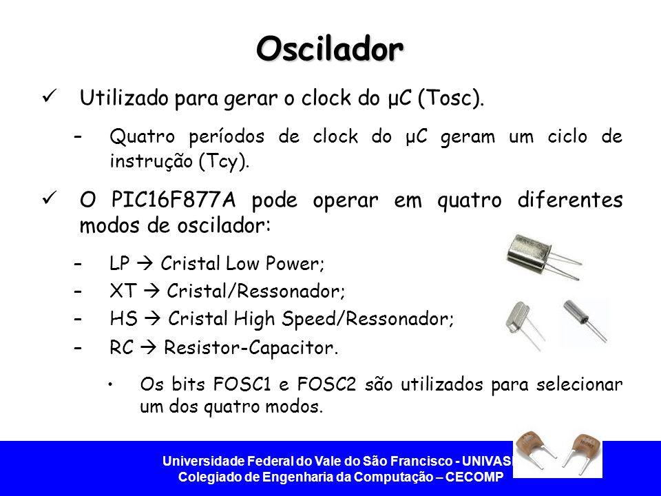 Oscilador Utilizado para gerar o clock do μC (Tosc).