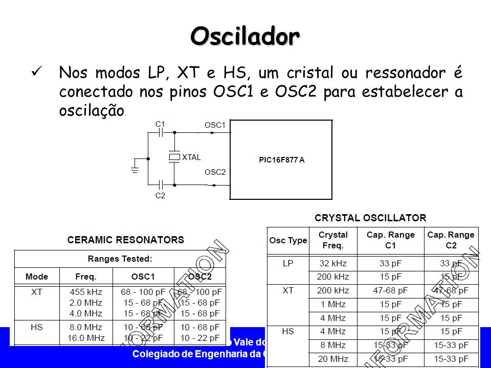 Oscilador Nos modos LP, XT e HS, um cristal ou ressonador é conectado nos pinos OSC1 e OSC2 para estabelecer a oscilação.