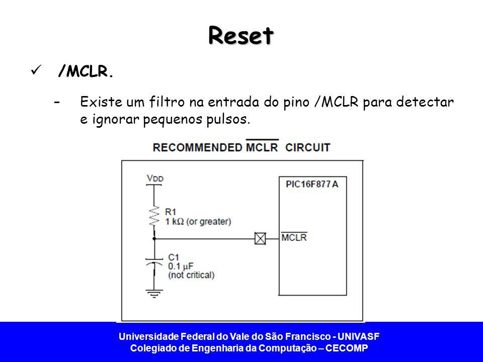 Reset /MCLR. Existe um filtro na entrada do pino /MCLR para detectar e ignorar pequenos pulsos.