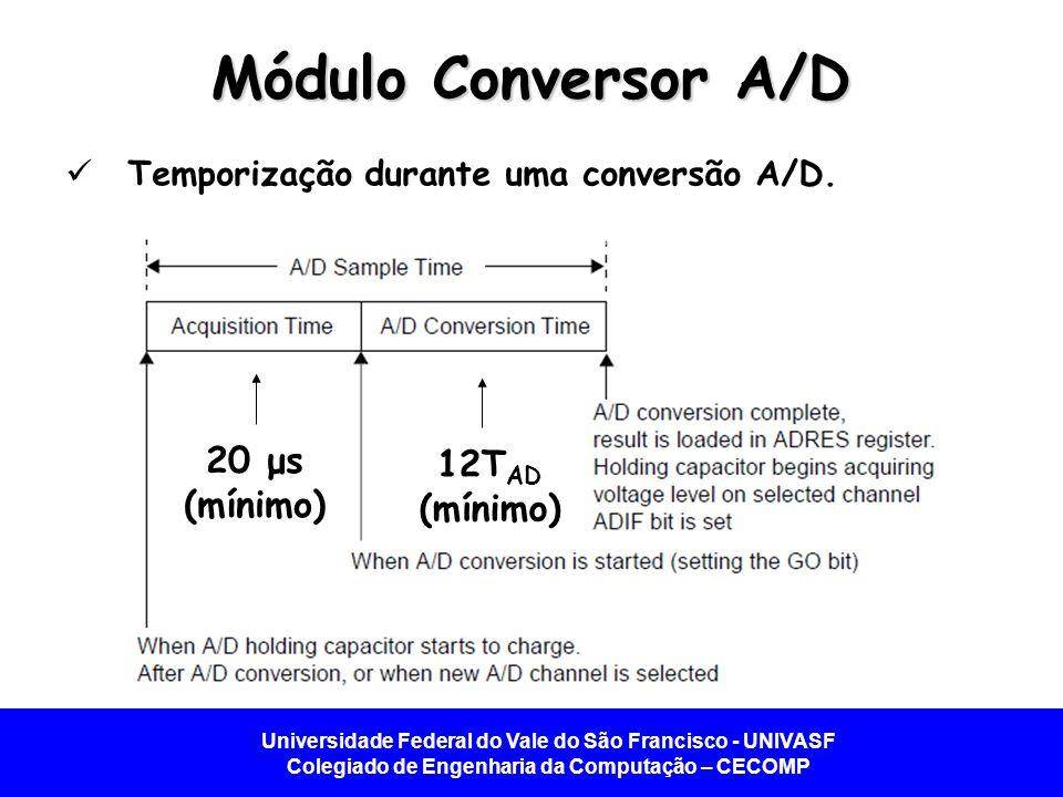 Módulo Conversor A/D 20 μs (mínimo) 12TAD (mínimo)