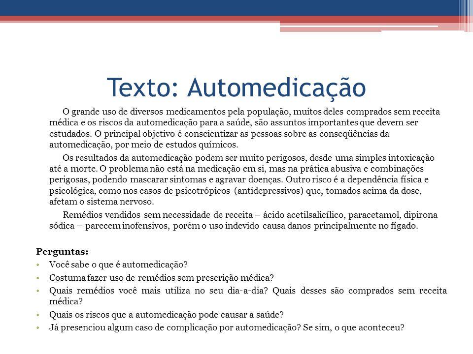 Texto: Automedicação