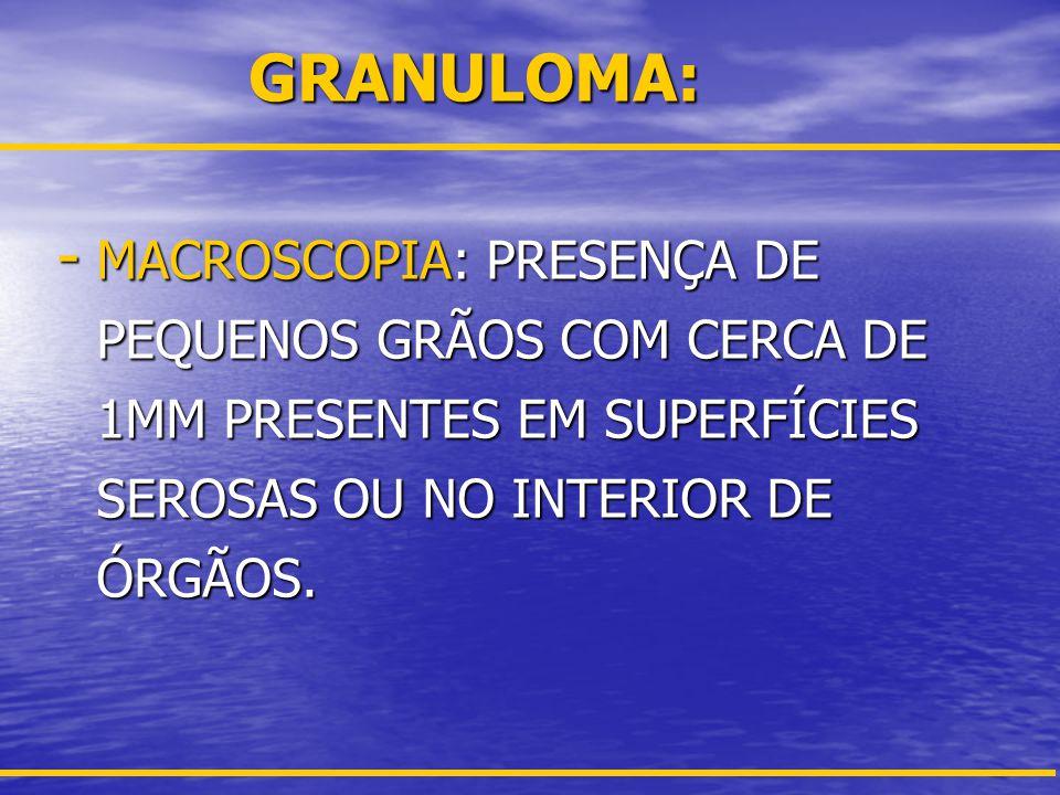 GRANULOMA: MACROSCOPIA: PRESENÇA DE PEQUENOS GRÃOS COM CERCA DE 1MM PRESENTES EM SUPERFÍCIES SEROSAS OU NO INTERIOR DE ÓRGÃOS.
