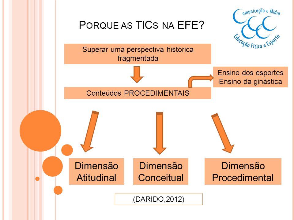 Porque as TICs na EFE Dimensão Atitudinal Dimensão Conceitual