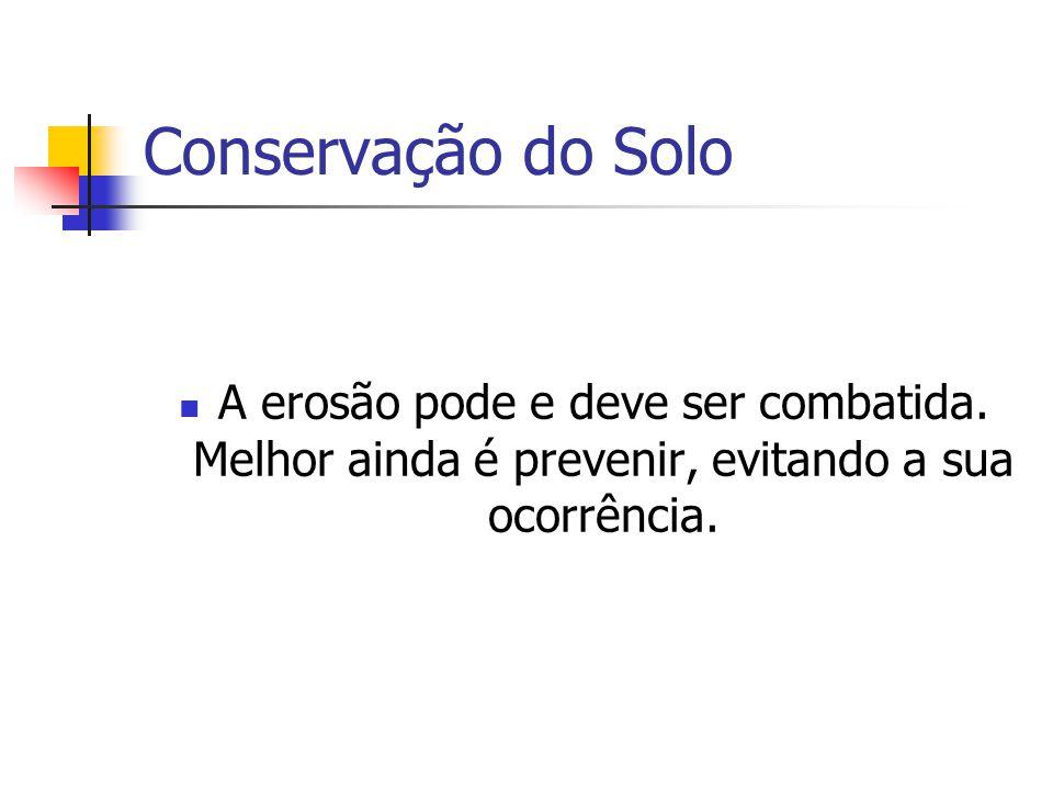 Conservação do Solo A erosão pode e deve ser combatida.