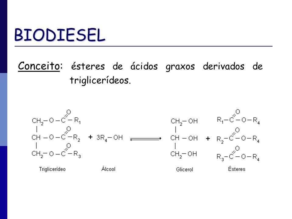 BIODIESEL Conceito: ésteres de ácidos graxos derivados de triglicerídeos.