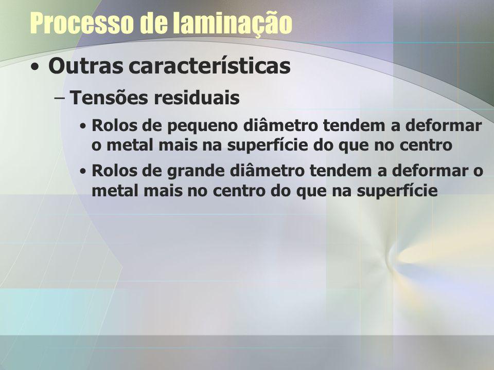 Processo de laminação Outras características Tensões residuais