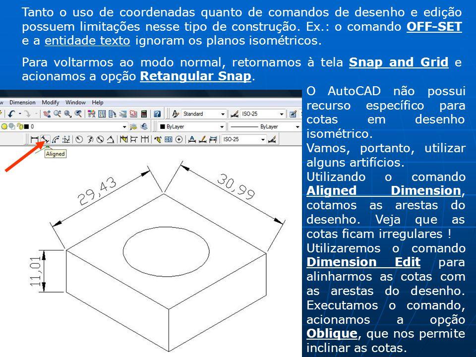 Tanto o uso de coordenadas quanto de comandos de desenho e edição possuem limitações nesse tipo de construção. Ex.: o comando OFF-SET e a entidade texto ignoram os planos isométricos.