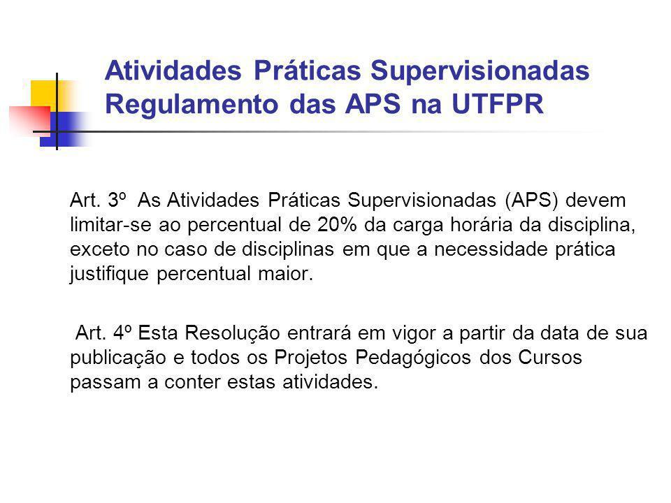 Atividades Práticas Supervisionadas Regulamento das APS na UTFPR