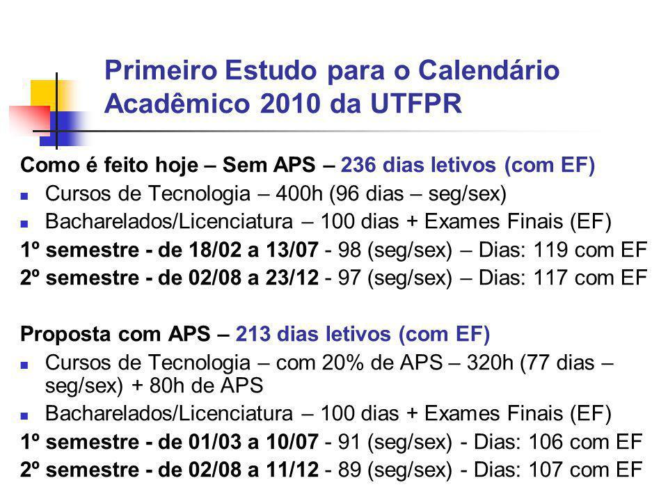 Primeiro Estudo para o Calendário Acadêmico 2010 da UTFPR