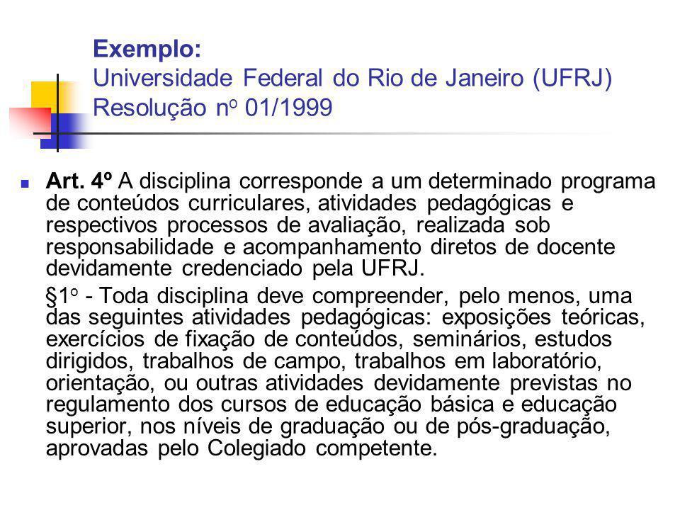 Exemplo: Universidade Federal do Rio de Janeiro (UFRJ) Resolução no 01/1999