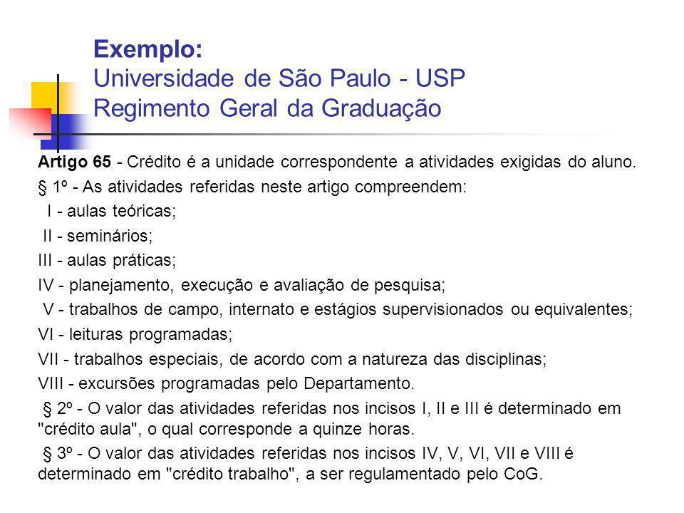 Exemplo: Universidade de São Paulo - USP Regimento Geral da Graduação
