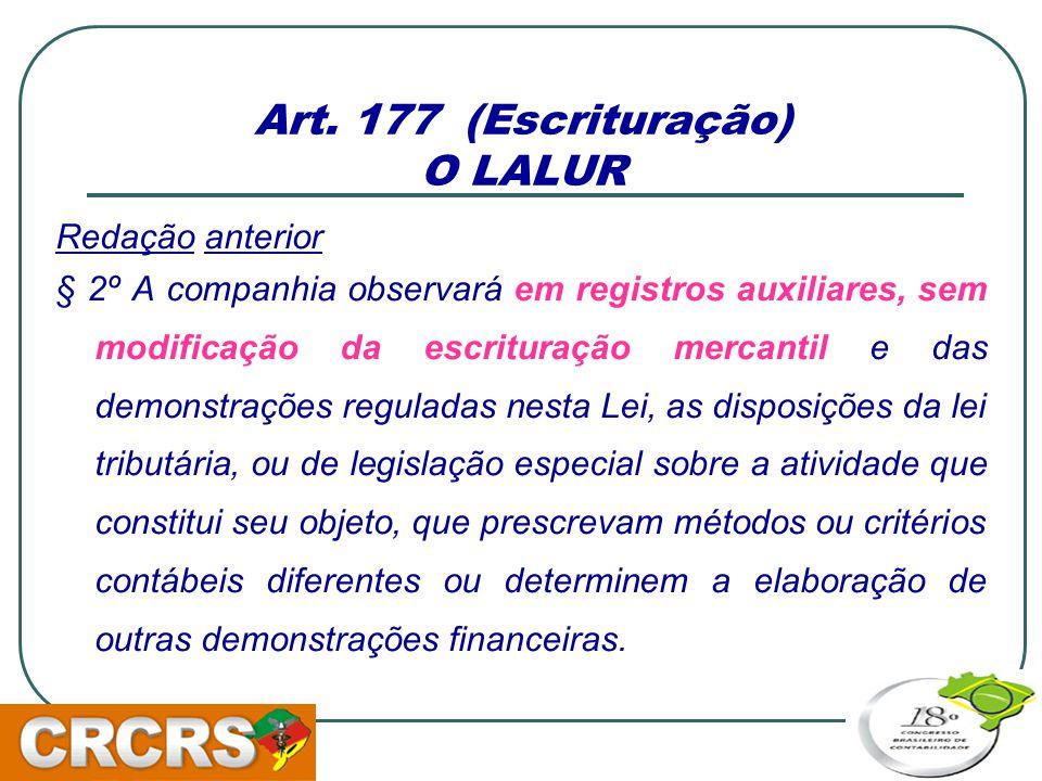 Art. 177 (Escrituração) O LALUR