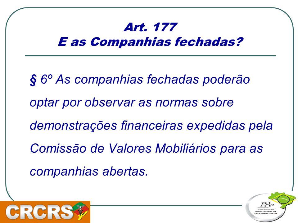 Art. 177 E as Companhias fechadas