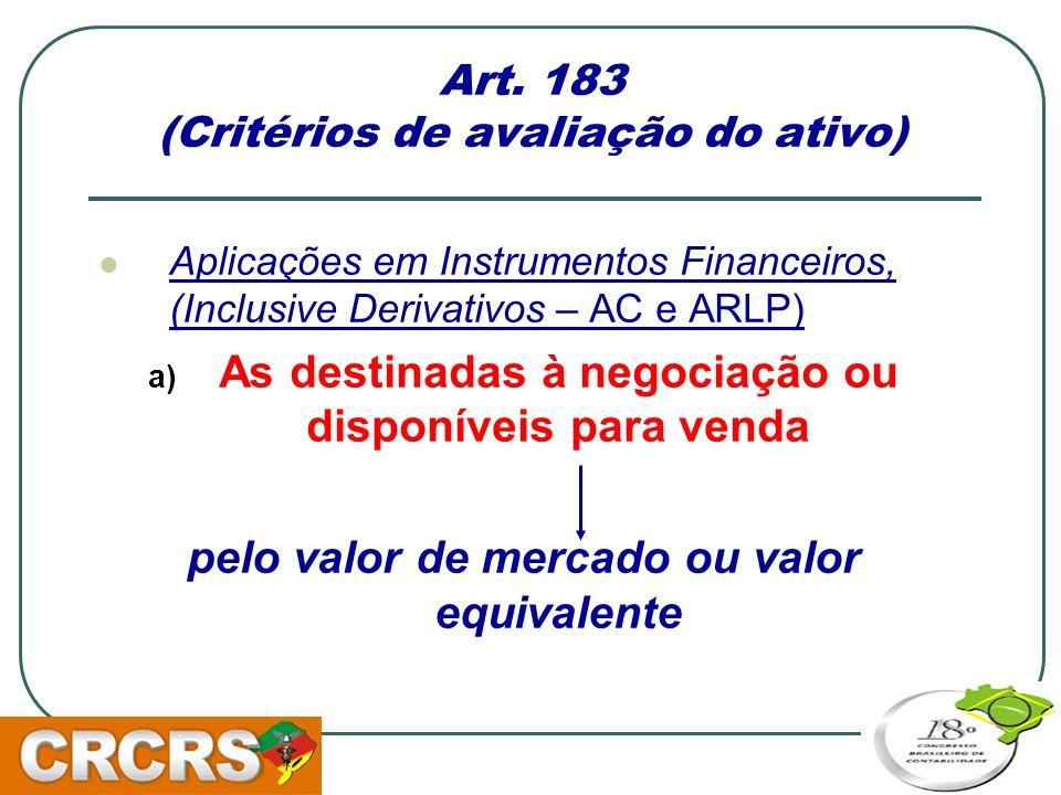 Art. 183 (Critérios de avaliação do ativo)