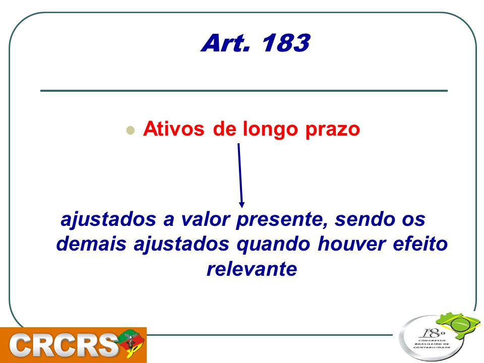 Art. 183 Ativos de longo prazo