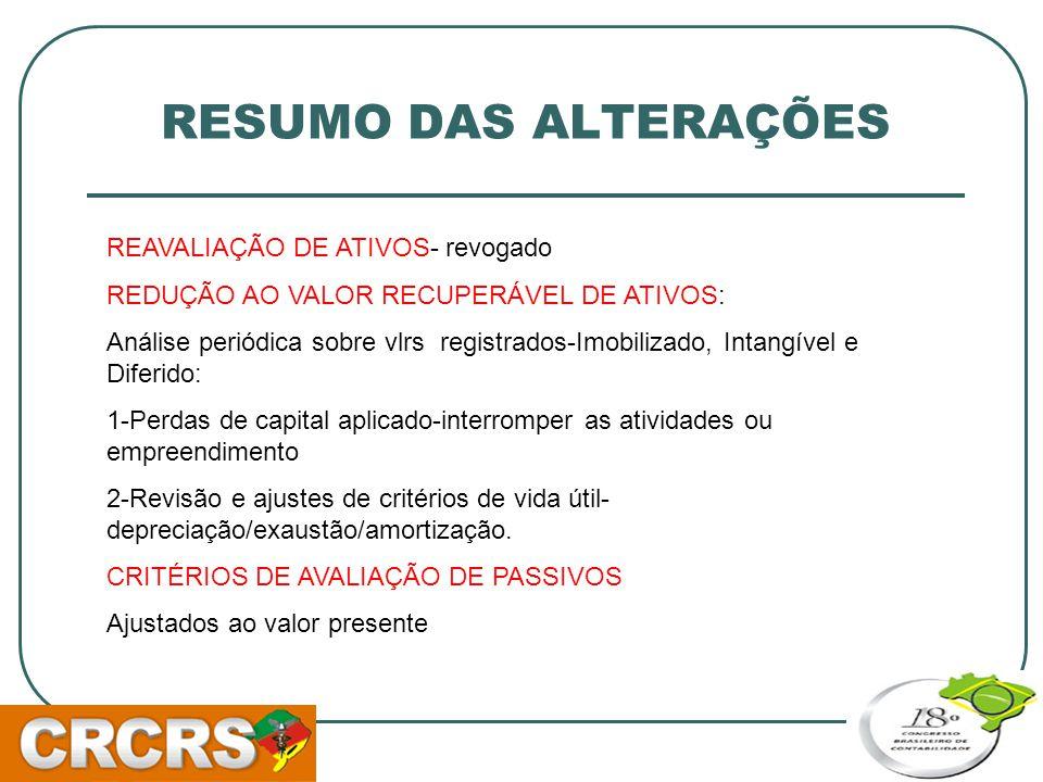 RESUMO DAS ALTERAÇÕES REAVALIAÇÃO DE ATIVOS- revogado