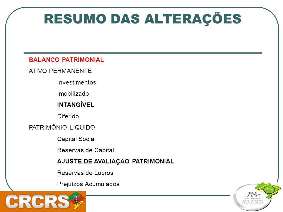 RESUMO DAS ALTERAÇÕES BALANÇO PATRIMONIAL ATIVO PERMANENTE