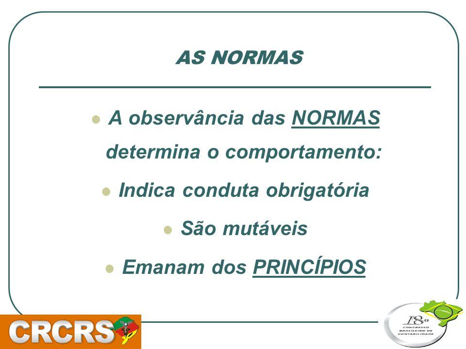 A observância das NORMAS determina o comportamento: