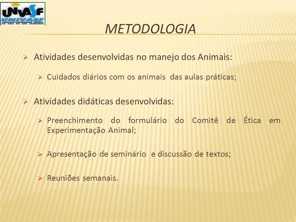 Metodologia Atividades desenvolvidas no manejo dos Animais: