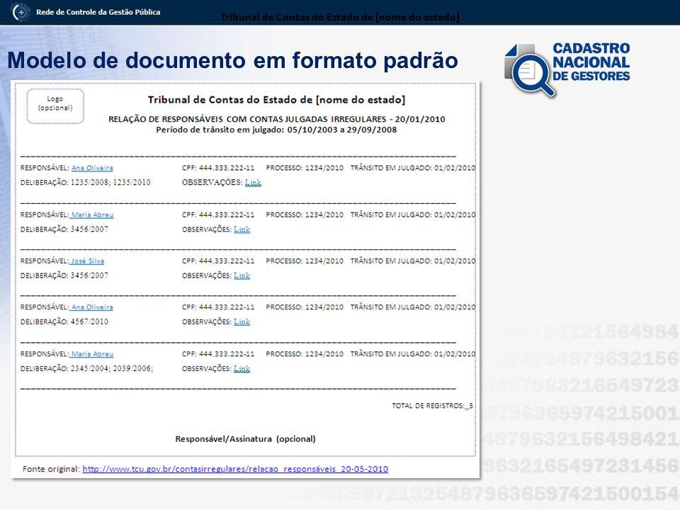 Modelo de documento em formato padrão