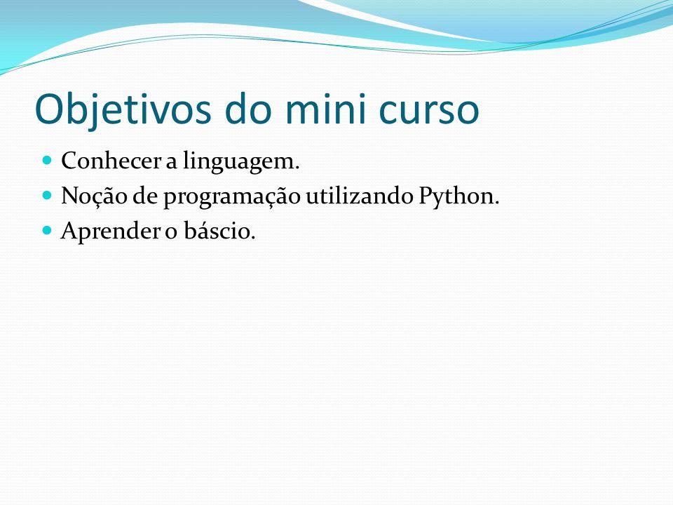 Objetivos do mini curso