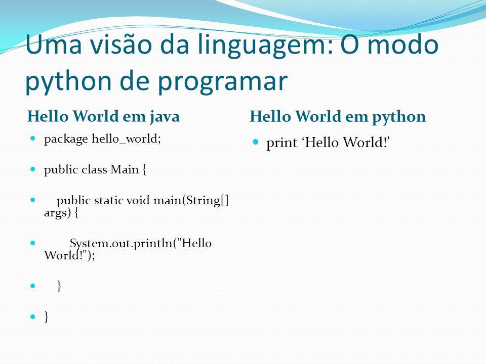 Uma visão da linguagem: O modo python de programar