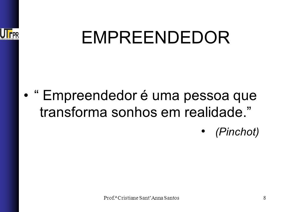 EMPREENDEDOR Empreendedor é uma pessoa que transforma sonhos em realidade. (Pinchot) Prof.ª Cristiane Sant'Anna Santos.
