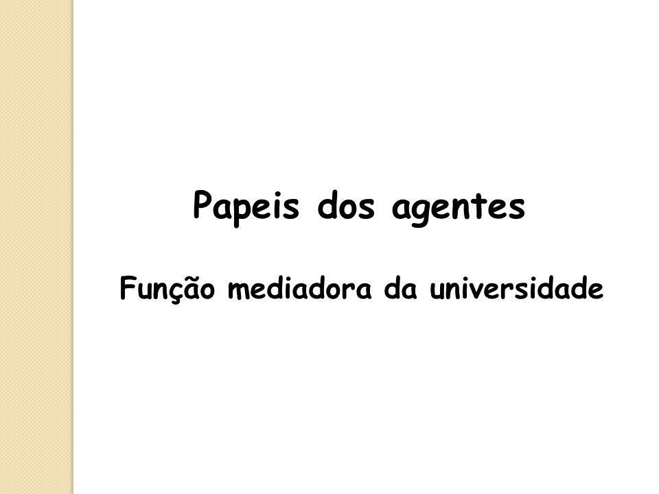 Papeis dos agentes Função mediadora da universidade