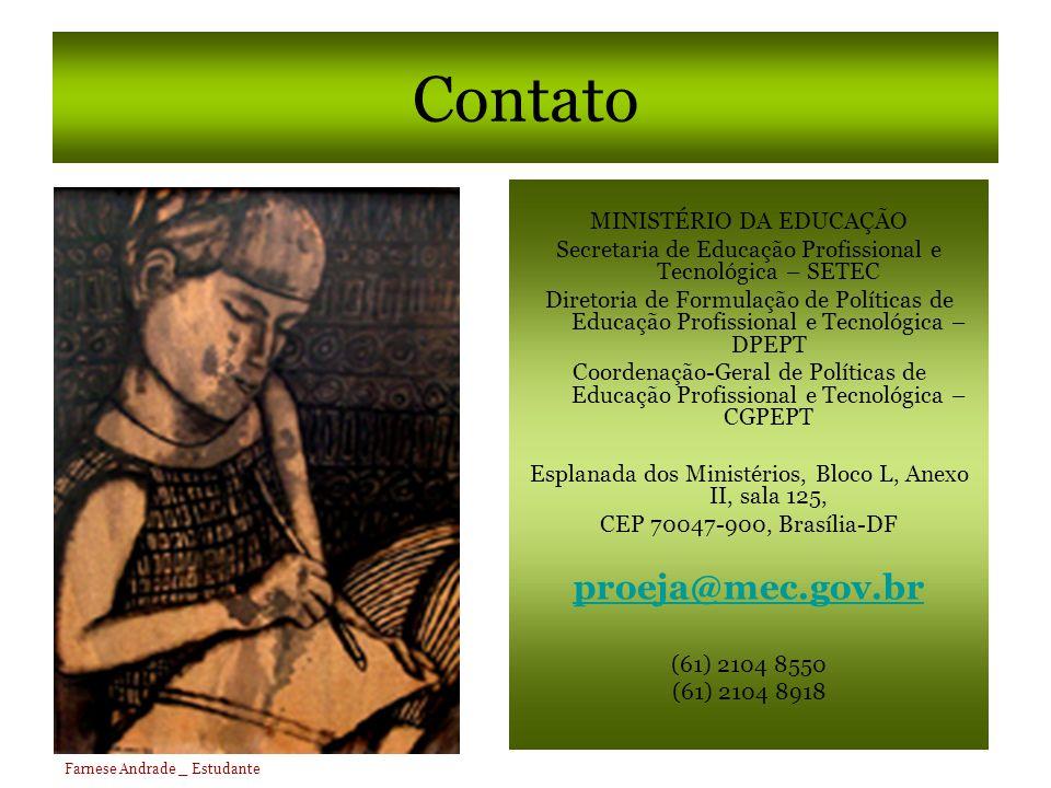 Contato proeja@mec.gov.br MINISTÉRIO DA EDUCAÇÃO