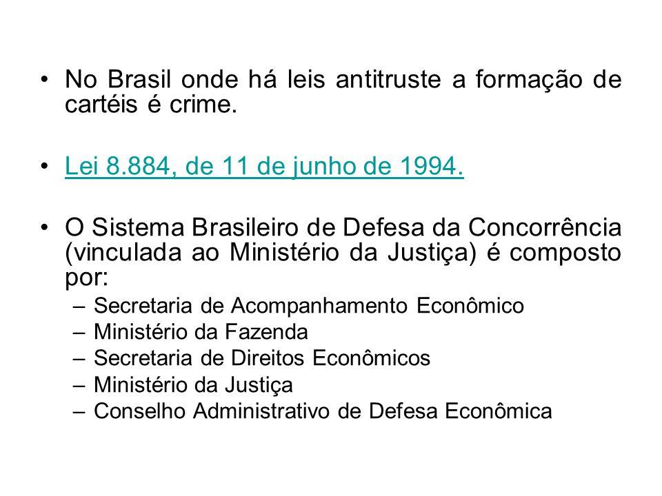 No Brasil onde há leis antitruste a formação de cartéis é crime.