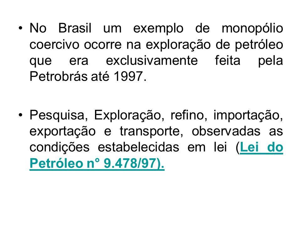 No Brasil um exemplo de monopólio coercivo ocorre na exploração de petróleo que era exclusivamente feita pela Petrobrás até 1997.