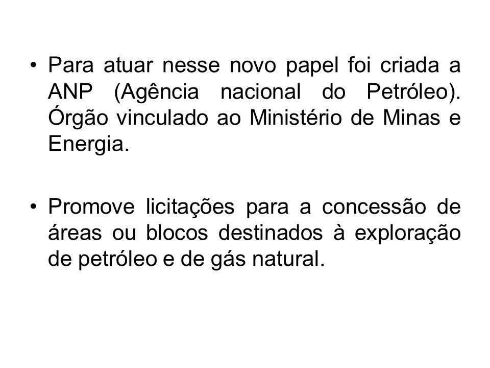 Para atuar nesse novo papel foi criada a ANP (Agência nacional do Petróleo). Órgão vinculado ao Ministério de Minas e Energia.