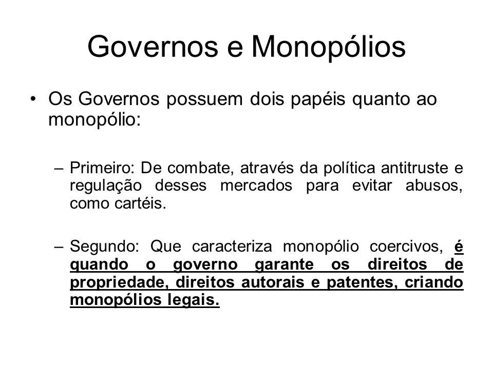 Governos e Monopólios Os Governos possuem dois papéis quanto ao monopólio: