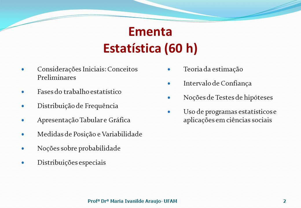 Ementa Estatística (60 h)