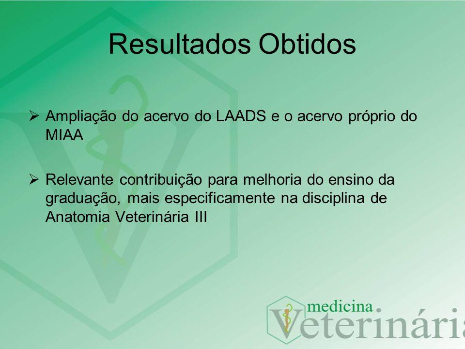 Resultados Obtidos Ampliação do acervo do LAADS e o acervo próprio do MIAA.