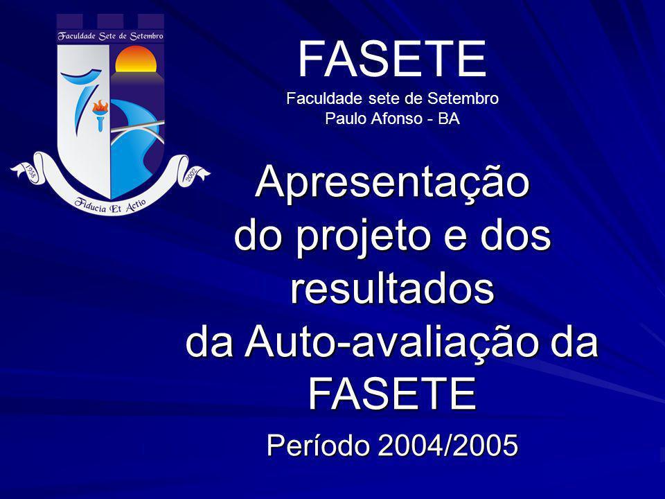 FASETE Faculdade sete de Setembro. Paulo Afonso - BA. Apresentação do projeto e dos resultados da Auto-avaliação da FASETE.