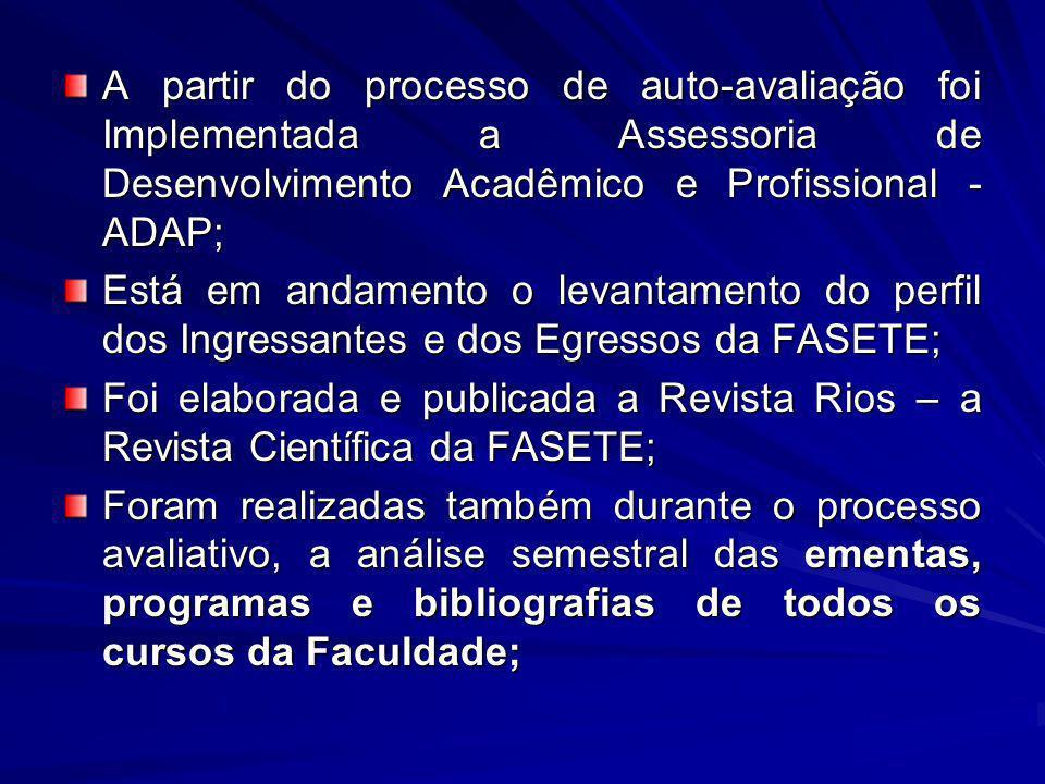 A partir do processo de auto-avaliação foi Implementada a Assessoria de Desenvolvimento Acadêmico e Profissional - ADAP;