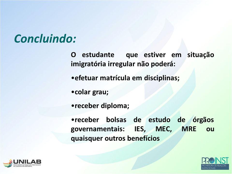 Concluindo: O estudante que estiver em situação imigratória irregular não poderá: efetuar matrícula em disciplinas;