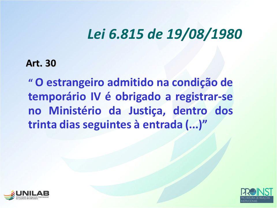 Lei 6.815 de 19/08/1980 Art. 30.