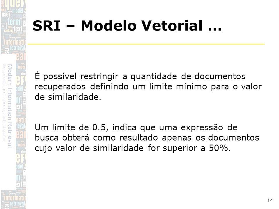 SRI – Modelo Vetorial ... É possível restringir a quantidade de documentos recuperados definindo um limite mínimo para o valor de similaridade.
