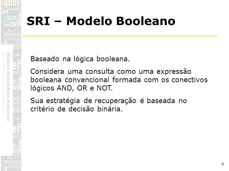 SRI – Modelo Booleano Baseado na lógica booleana.