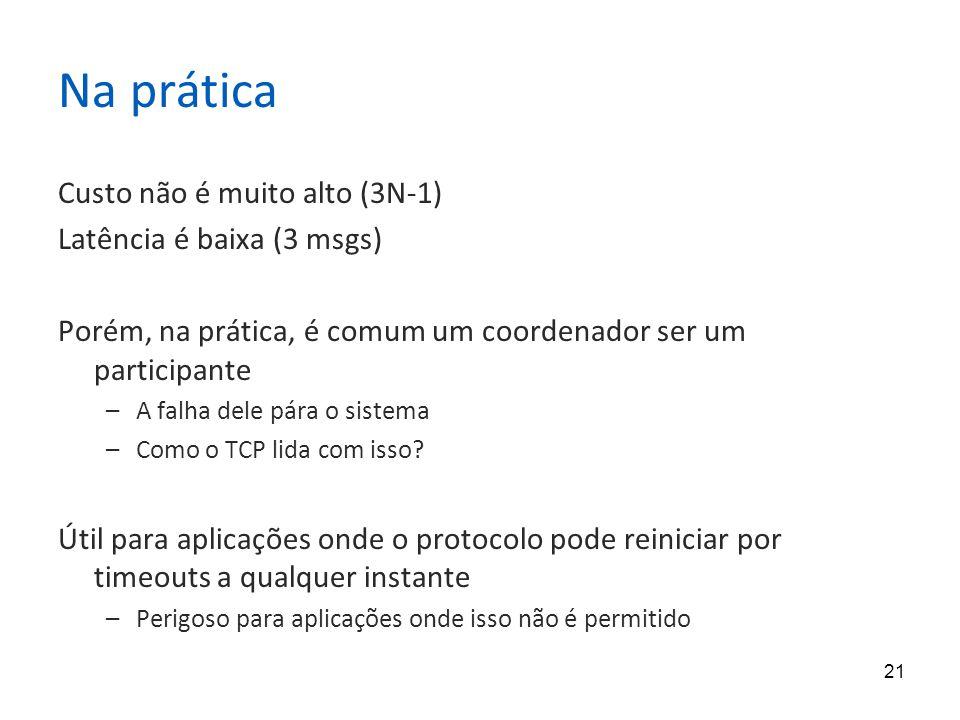 Na prática Custo não é muito alto (3N-1) Latência é baixa (3 msgs)