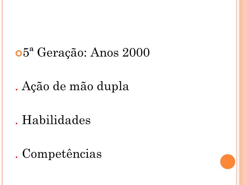 5ª Geração: Anos 2000 . Ação de mão dupla . Habilidades . Competências