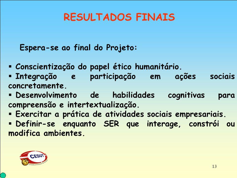 Conscientização do papel ético humanitário.