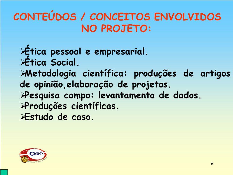 CONTEÚDOS / CONCEITOS ENVOLVIDOS NO PROJETO: