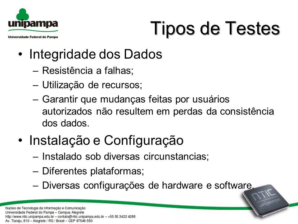 Tipos de Testes Integridade dos Dados Instalação e Configuração