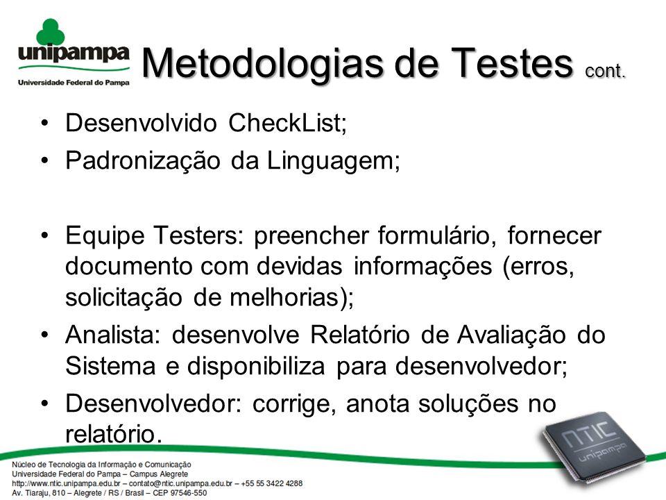 Metodologias de Testes cont.