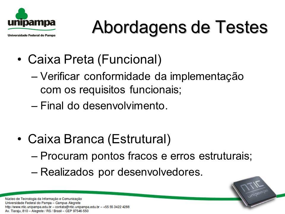 Abordagens de Testes Caixa Preta (Funcional) Caixa Branca (Estrutural)
