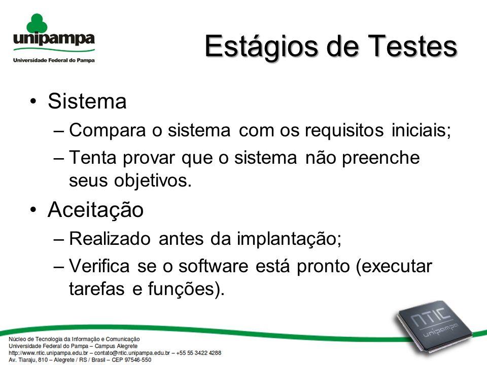 Estágios de Testes Sistema Aceitação
