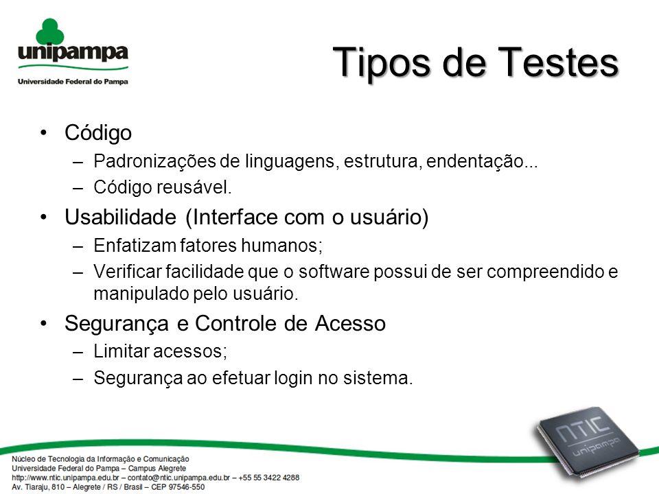 Tipos de Testes Código Usabilidade (Interface com o usuário)